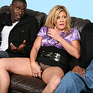 Black thugs sharing lusty Ginger Lynn in front of her own son from Watching My Mom Go Black